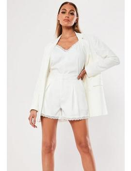 White Co Ord Lace Trim Tailored Shorts by Missguided