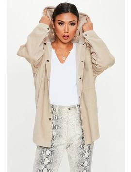 Oversize Cordjacke Mit Kapuze In Beige by Missguided