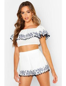 Embroidered Pom Pom Shorts by Boohoo