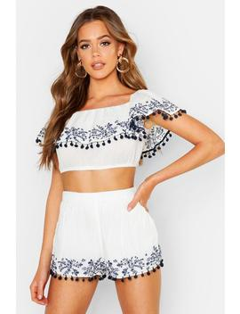 Embroidered Pom Pom Bardot Top by Boohoo