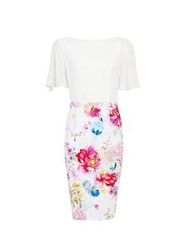 **Showcase Ivory Floral Print Bodycon Dress by Dorothy Perkins