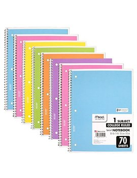 Mead Spiral Notebook, 8 Pack Of 1 Subject College Ruled Spiral Bound Notebooks, Pastel Color Cute School Notebooks, 70 Pages by Mead