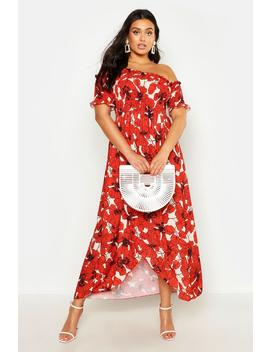 Plus Floral Sheered Off Shoulder Maxi Dress by Boohoo
