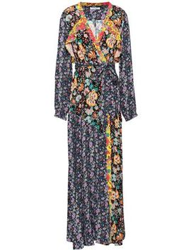 Ruffle Trimmed Printed Crepe Maxi Wrap Dress by Frame