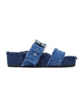 Buckled Frayed Denim Slides by Rag & Bone