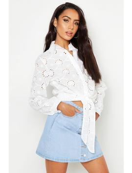 Broderie Anglaise Tie Front Shirt by Boohoo
