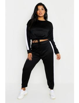 Plus Stripe Panel Drawstring Waist Lounge Set by Boohoo