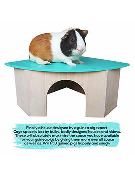 Piggies Choice The Space House All Natural Large Wooden Corner Hideout Guinea Pig And Bunny Hut by Piggies Choice