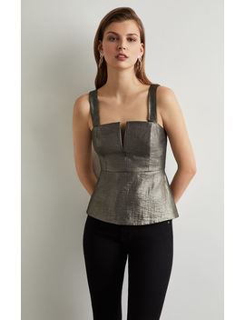 Metallic Sleeveless Peplum Top by Bcbgmaxazria