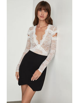 Crisscross Lace Cutout Bodysuit by Bcbgmaxazria