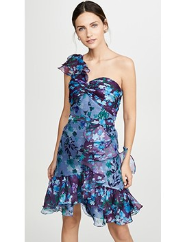 One Shoulder Colorblock Cocktail by Marchesa Notte