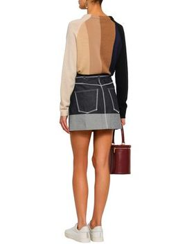 Two Tone Denim Mini Skirt by Acne Studios