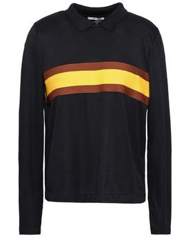 Dubois Striped Stretch Knit Polo Shirt by Ganni
