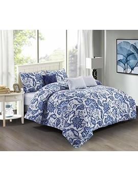 Wonder Home 6 Pieces Blue Floral Cotton Comforter Set Queen, Oeko Tex Certified, Super Soft Bedspread With Dec Pillows, Elegant Bedding Set by Wonder Home