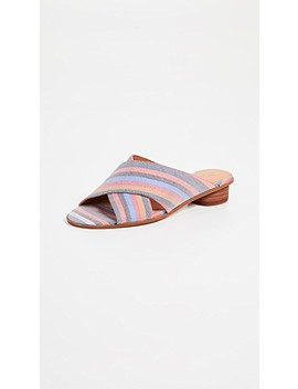 The Ruthie Crisscross Mules In Rainbow Stripe by Madewell