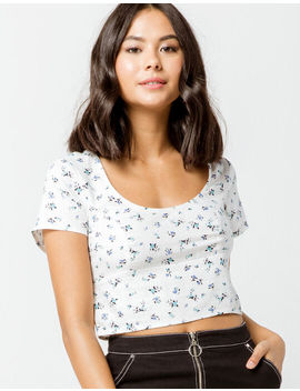 Ivy & Main Floral Structured White Womens Crop Top by Tilly's