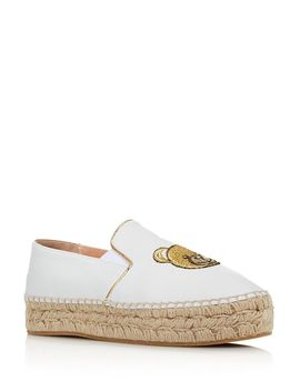Women's Teddy Leather Espadrille Flats by Moschino