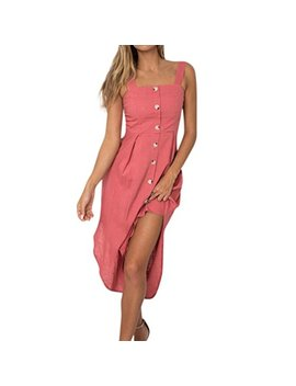 Women's Casual Dress, 2019 New Women Solid Holiday Irregular Summer Beach Buttons Party Dresses By E Scenery by E Scenery Women Dress And Skirt