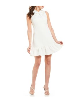 Tie Neck Ruffle Hem Sleeveless Dress by Betsey Johnson