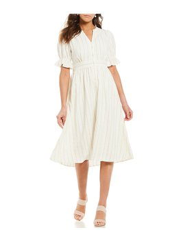 Arlene Stripe Puff Sleeve A Line Midi Dress by Cremieux