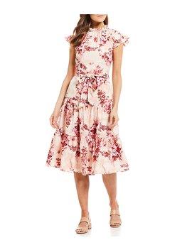 Lyssa Floral Print Ruffle Mock Neck Tie Waist Tiered A Line Midi Dress by Alex Marie