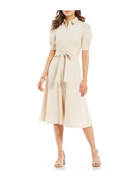 Ulla Pinstripe Tie Waist Puff Sleeve Midi Length Shirt Dress by Alex Marie