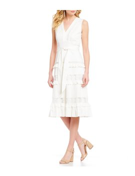 Natalie Crochet Trim Tie Waist Ruffle Detail Midi Dress by Antonio Melani