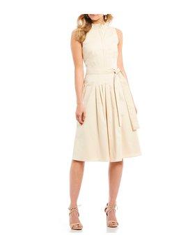 Bella Pleated Mandarin Collar Tie Waist A Line Midi Dress by Antonio Melani