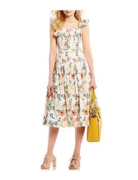 Lila Floral Print Smocked Ruffle Bodice A Line Midi Dress by Antonio Melani