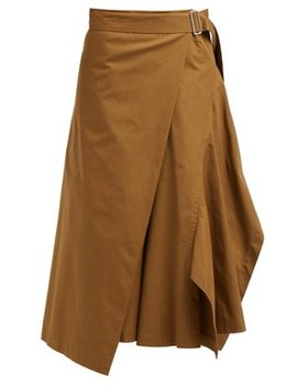 Draped Cotton Gabardine Midi Skirt by Colville