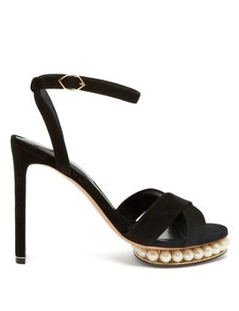 Casati Faux Pearl Embellished Suede Sandals by Nicholas Kirkwood