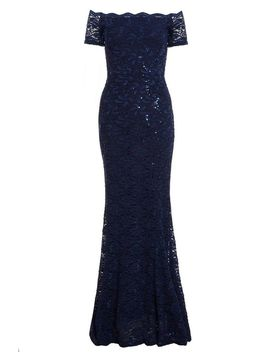 *Quiz Navy Sequin Bardot Maxi Dress by Dorothy Perkins