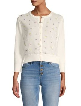Floral Faux Pearl Accented Cropped Cardigan Sweater by Karl Lagerfeld Paris