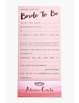 Ginger Ray Bride Advice Cards 10 Pk by Boohoo