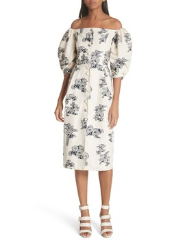 Josephine Floral Print Off The Shoulder Dress by Sea
