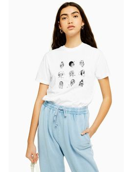 Multi Sketch Girl T Shirt By Tee & Cake by Topshop