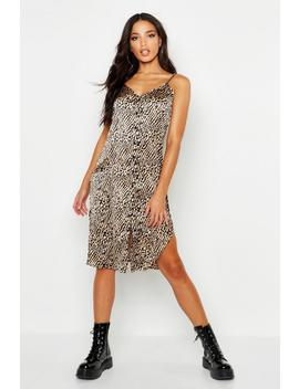 Button Through Satin Animal Cami Dress by Boohoo