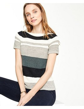 Textured Stripe Short Sleeve Sweater by Ann Taylor