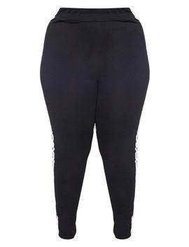 Plus Black Sports Stripe Leggings by Prettylittlething