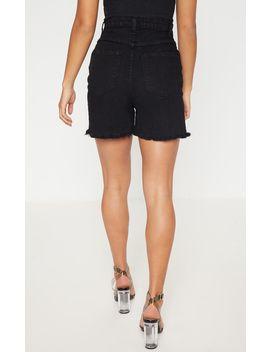 Petite Black Distressed Denim Shorts by Prettylittlething