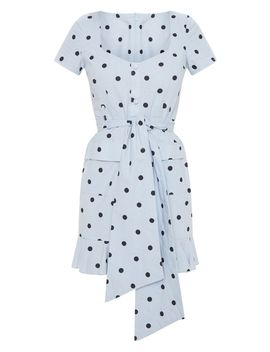 Baby Blue Polka Dot Button Through Frill Shift Dress by Prettylittlething
