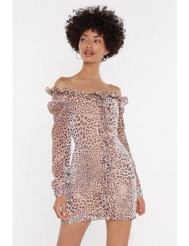 Devore Leopard Ruffle Mini Dress by Nasty Gal