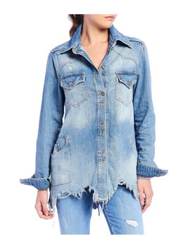 Moonchild Distressed Denim Shirt Jacket by Free People