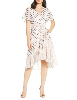 polka-dot-chiffon-faux-wrap-dress by eliza-j