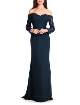 Off The Shoulder Three Quarter Sleeve Gown by #Levkoff