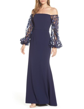 Off The Shoulder 3 D Floral Sleeve Scuba Crepe Evening Dress by Eliza J