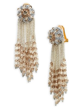 Chain Cluster Beaded Clip Earrings by Oscar De La Renta
