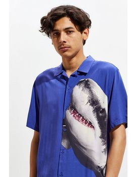 Uo Placed Shark Rayon Short Sleeve Button Down Shirt by Urban Outfitters