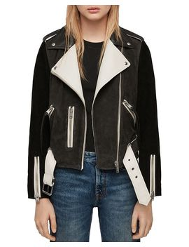 Balfern Color Block Suede & Leather Biker Jacket by Allsaints