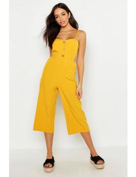 button-front-wide-leg-culotte-jumpsuit by boohoo